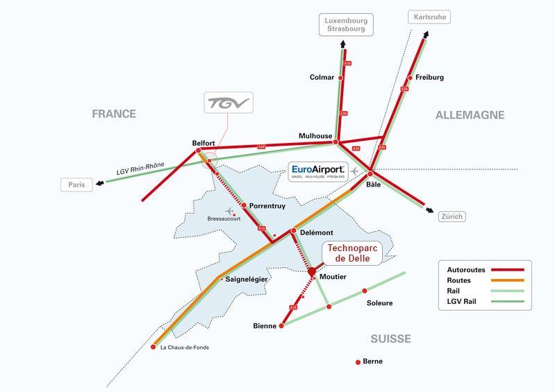 Autoroutes technoparc delle Belfort ville Idre Immobilier desaulles professionnel frontière transjuranes